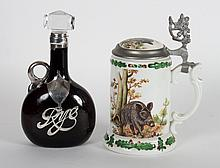 German porcelain stein & silver-mounted decanter