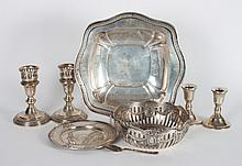 Group of American & continental silver table items