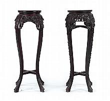 Two similar Chinese carved hardwood plant stands