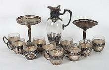 Ten German silver cup holders