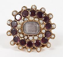 Georgian gold, garnet, and pearl memorial ring