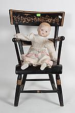 Miniature commode chair and doll