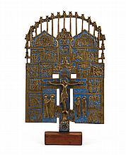Russian enameled brass Christian shrine