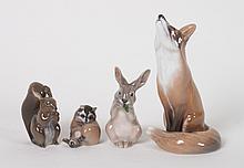 Four Royal Copenhagen porcelain forest animals