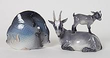 Two Royal Copenhagen porcelain animal groups