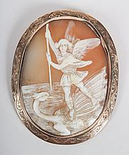 Victorian St. George shell cameo brooch