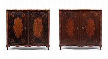 Pair Important Louis Philippe marquetry cabinets