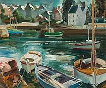 Trafford Klots, Boats at Harbor, oil on canvas