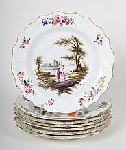 Seven German painted porcelain plates