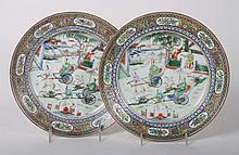 Pair of Chinese Export porcelain cabinet plates