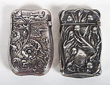 Two American Art Nouveau silver match safes