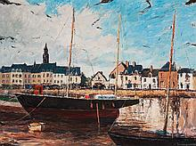 Georges Bousquet. Ships at Harbor, oil on canvas