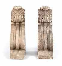 Pair of Classical style carved stone balustrades
