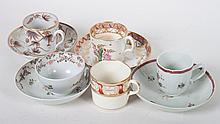 Five English and Chinese Export cups & 4 saucers