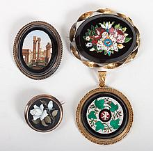 Four Italian micromosaic or pietra dura items