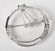 Lady's 14K white gold & diamond circle brooch