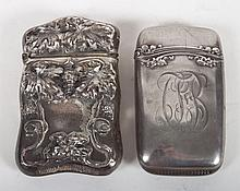 Two American sterling silver match safes