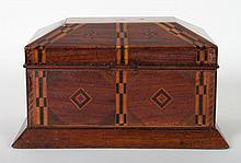 Victorian parquetry inlaid walnut jewelry box