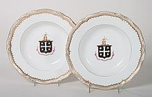 Pair of English armorial china soup bowls