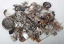 Bag of assorted sterling silver jewelry items
