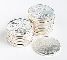 Twenty U.S. American Eagle silver coins