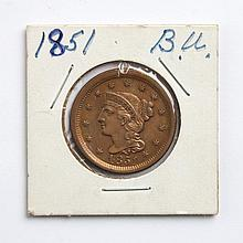 United States Braided Hair copper large cent, 1851