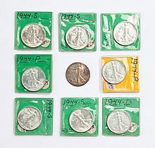 Nine U.S. Walking Liberty half dollars, 1944