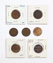 Seven U.S. Shield type two-cent pieces, 1864-'66