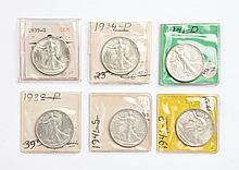 Six U.S. Walking Liberty half dollars, 1938-'41