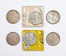 Six U.S. Walking Liberty half dollars, 1942-'43