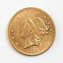 United States gold double eagle ($20), 1853