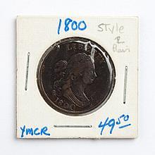 U.S. Draped Bust type copper half cent, 1800