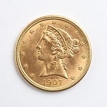 U.S. Coronet type gold half eagle, 1907