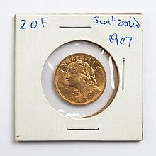 Switzerland gold 20 francs, 1907-B