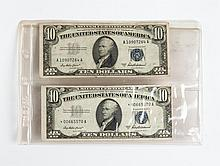 Two U.S. $10 silver certificates, 1953A