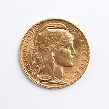 France gold 20 francs, 1907