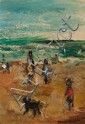 Edward Rosenfeld, American, 1906-1983, On the Beach, oil on masonite, 9 x 6 1/2 in., framed
