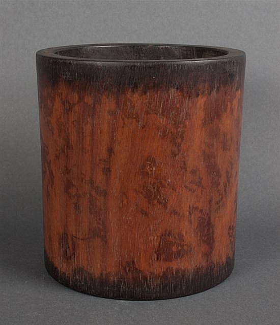 Chinese carved wood scholars brush pot