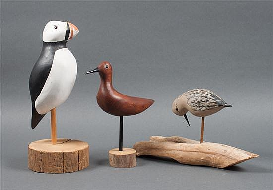 Three American Folk Art style carved and painted wood birds