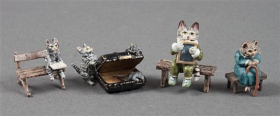 Four Austrian cold painted bronze cat groups
