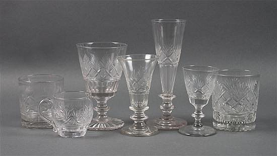 Assorted Pittsburgh etched glass stemware and glasses in the