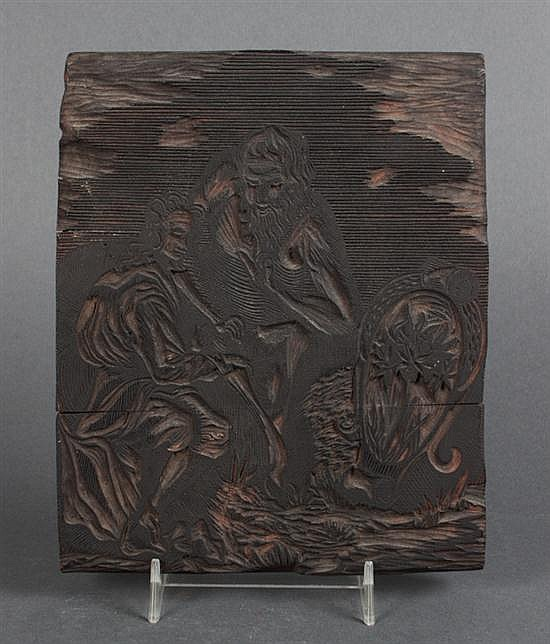 Japanese carved wood print block