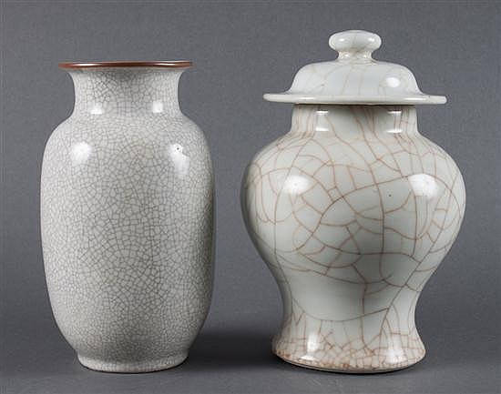 Chinese monochrome crackle glazed white porcelain vase, and a similar covered jar