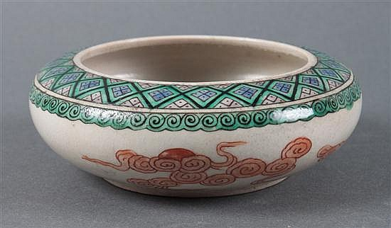 Chinese Famille Verte and rouge-de-fer porcelain low bowl