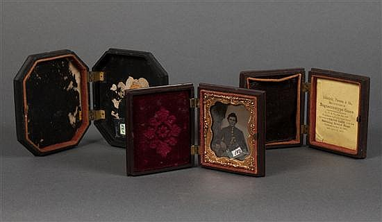 [Photography] Three molded thermoplastic Union cases, one with 1/8th plate tintype portrait of a boy soldier circa 1860