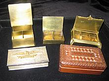 AMERICAN STAMP BOXES (4), one with lid showing