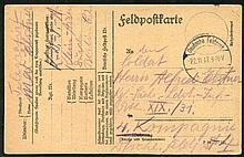 1917 German Feldpostkarte to his father at