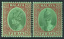 PERAK 1935-65 fine M collection on leaves incl.