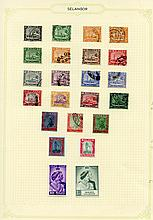 SELANGOR 1935-65 M & U collection on leaves incl.