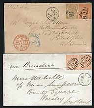 EGYPT Cairo 1873 cover to USA with GB 4d + 6d (SG